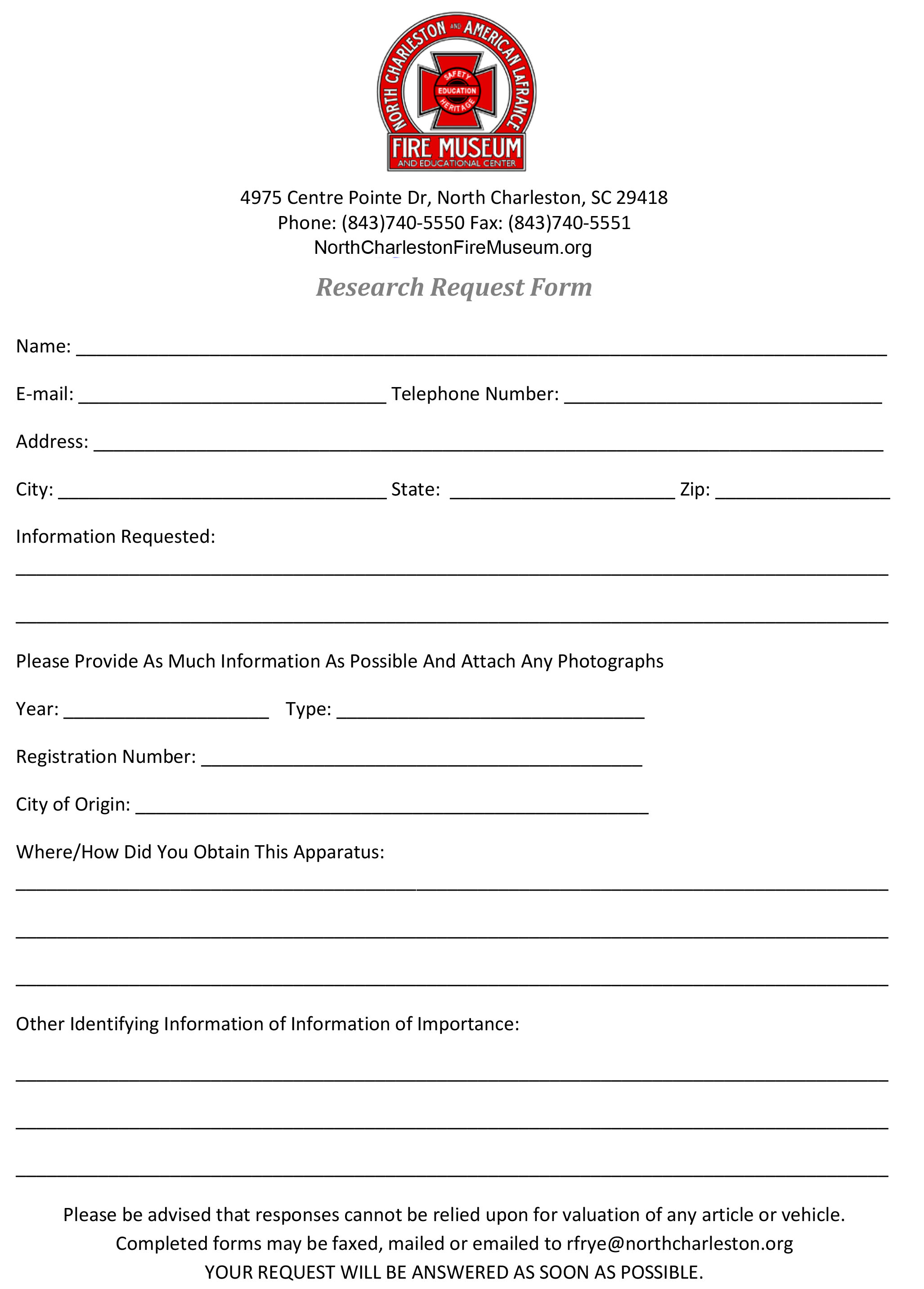 North Charleston Fire Museum Research – Information Request Form